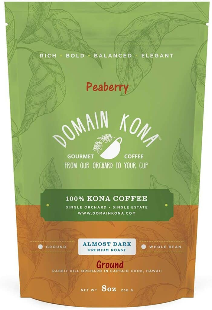 Peaberry 100 percent Kona Coffee from Kona Coffee & Tea