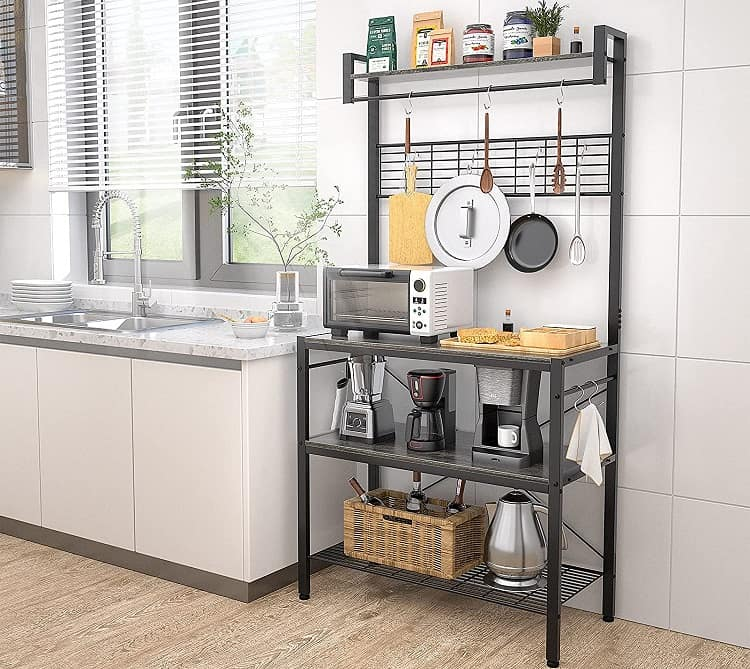 Armocity Kitchen Bakers Rack with Hutch